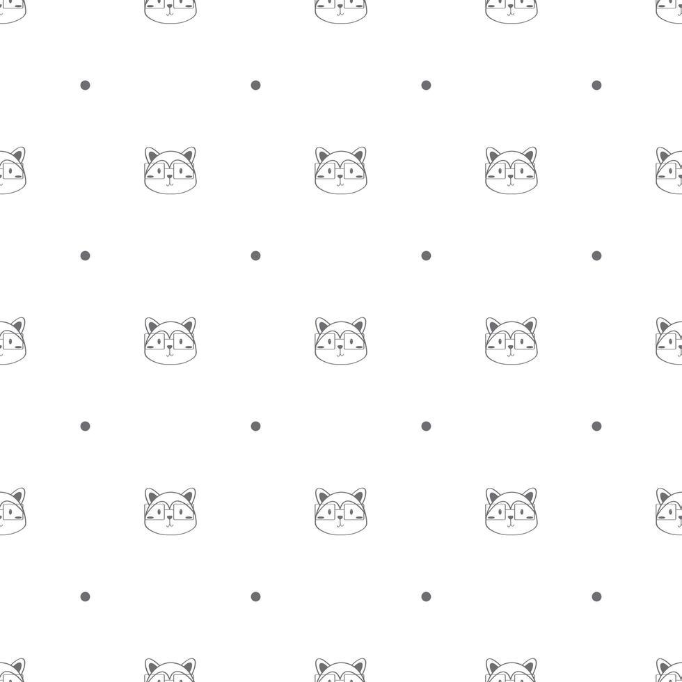 nahtloses Muster mit Fuchsköpfen und Tupfen vektor