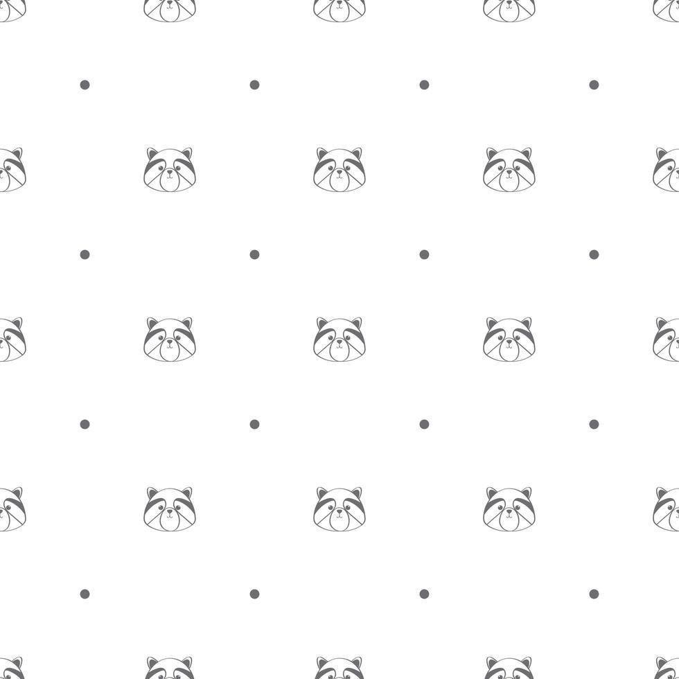 nahtloses Muster mit Waschbärköpfen und Tupfen vektor