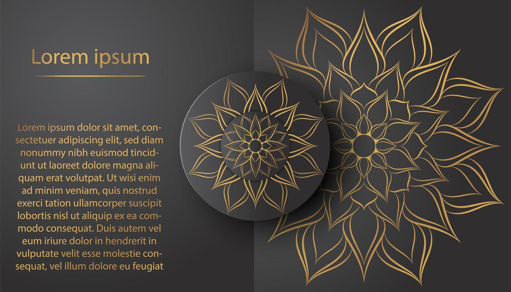 Kreis Blumenblütenblatt Mandala Karte mit Vintage Design vektor