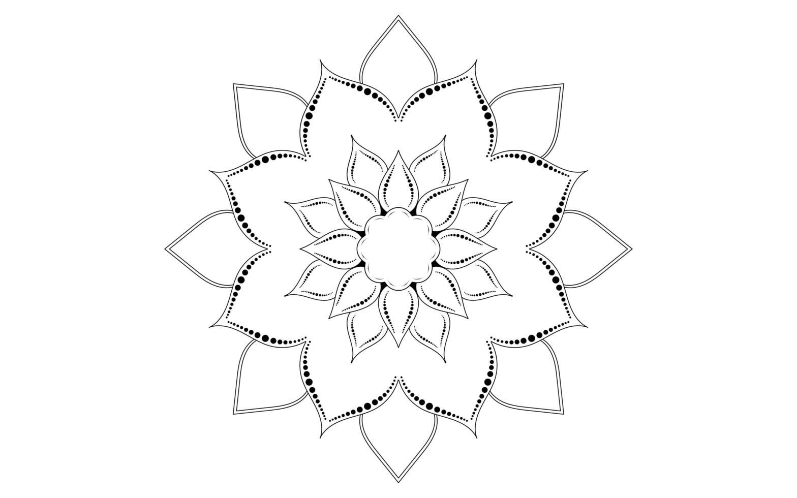 minimalistisches kreisförmiges Blumenmandalamuster vektor