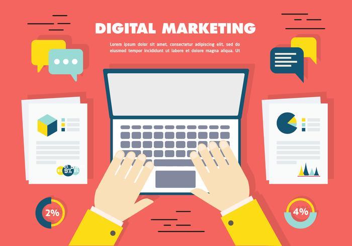 Gratis Flat Digital Marketing Ikon Samling Vector Bakgrund