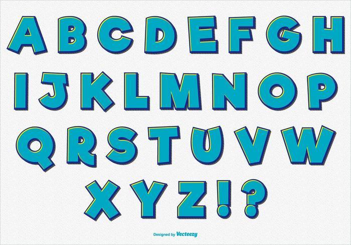 Spaß Retro Comic Alphabet Set vektor