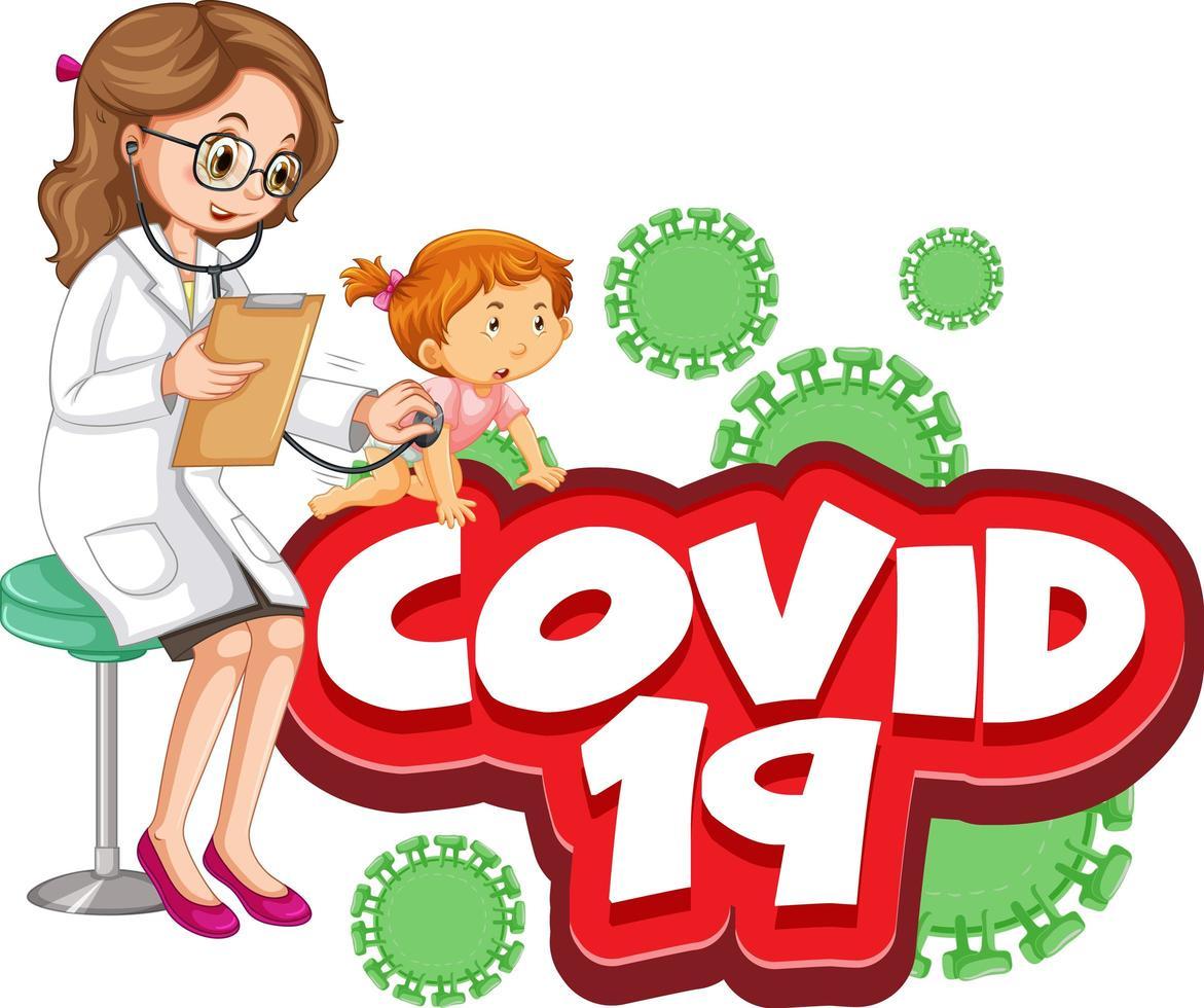 Covid 19 Text mit krankem Mädchen und Arzt vektor