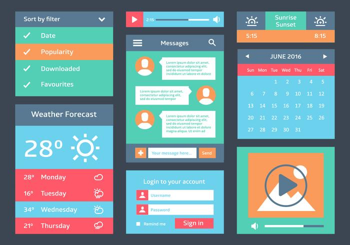 Free Flat Web User Interface Vektor Hintergrund