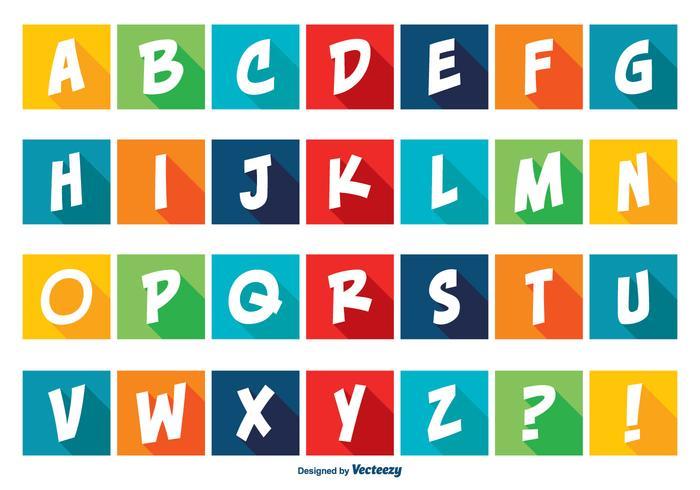 Färgglada Comic Style Alfabet Set vektor