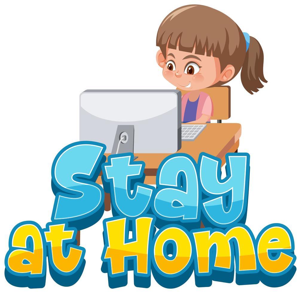 Bleiben Sie und arbeiten Sie zu Hause, um die Verbreitung von Viren zu vermeiden vektor