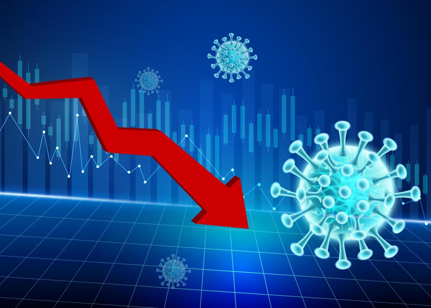 Abwärtspfeil Coronavirus Aktienkursrückgang Design vektor