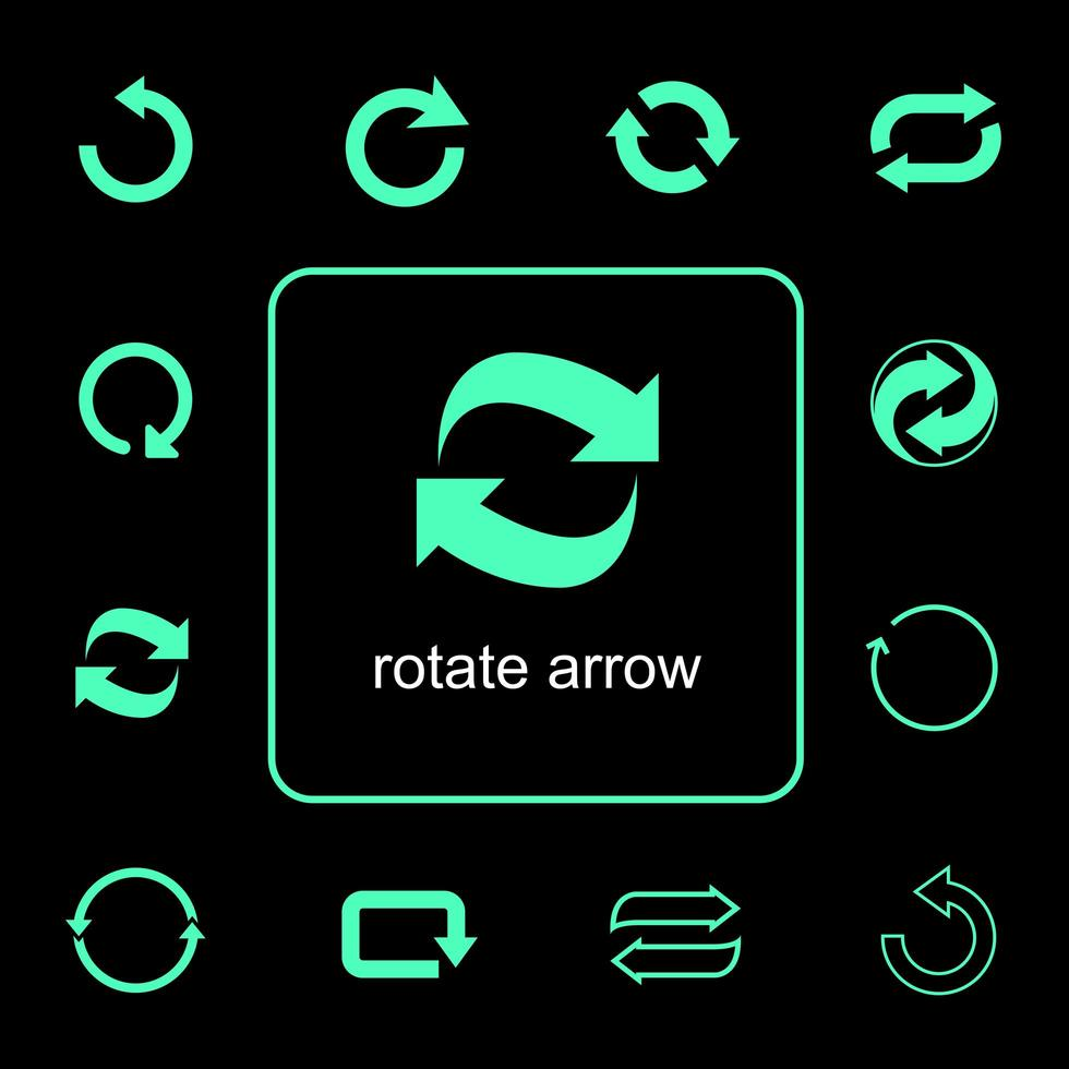 Symbolsatz für rotierende Pfeile vektor