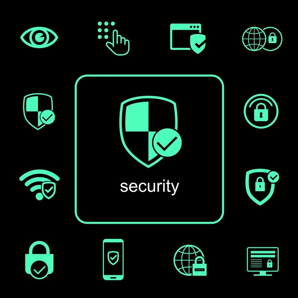 Online-Sicherheitssymbole festgelegt vektor