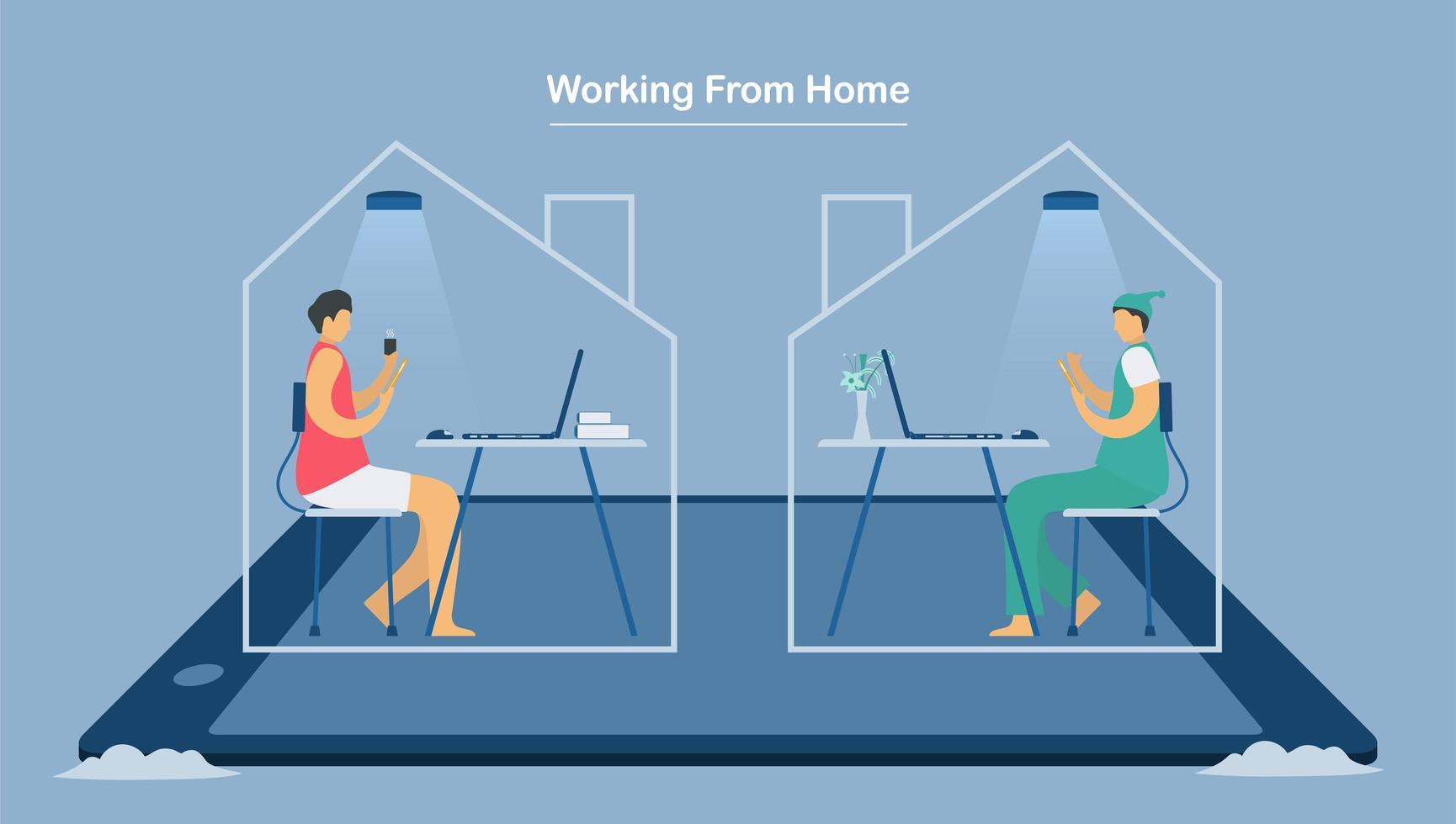 två anställda som arbetar hemifrån för att skydda nya coronavirus vektor