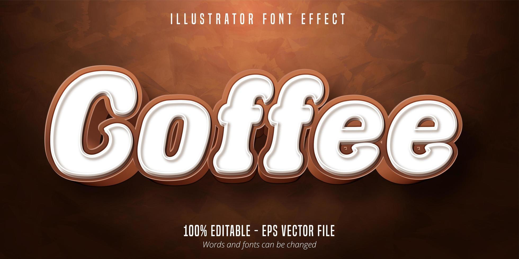kaffe text typsnitt effekt vektor
