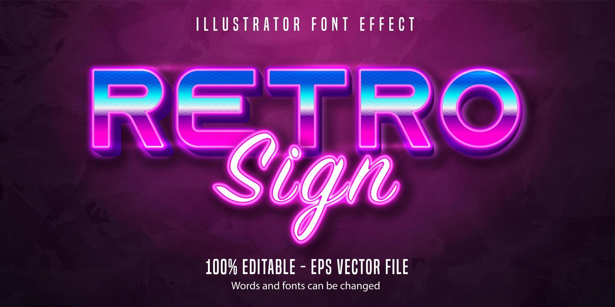 retro tecken text effekt vektor