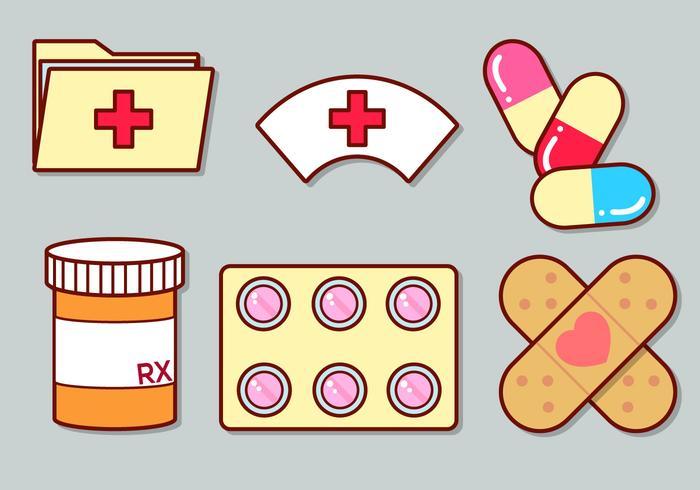 Söt medicinsk ikonuppsättning 3 vektor