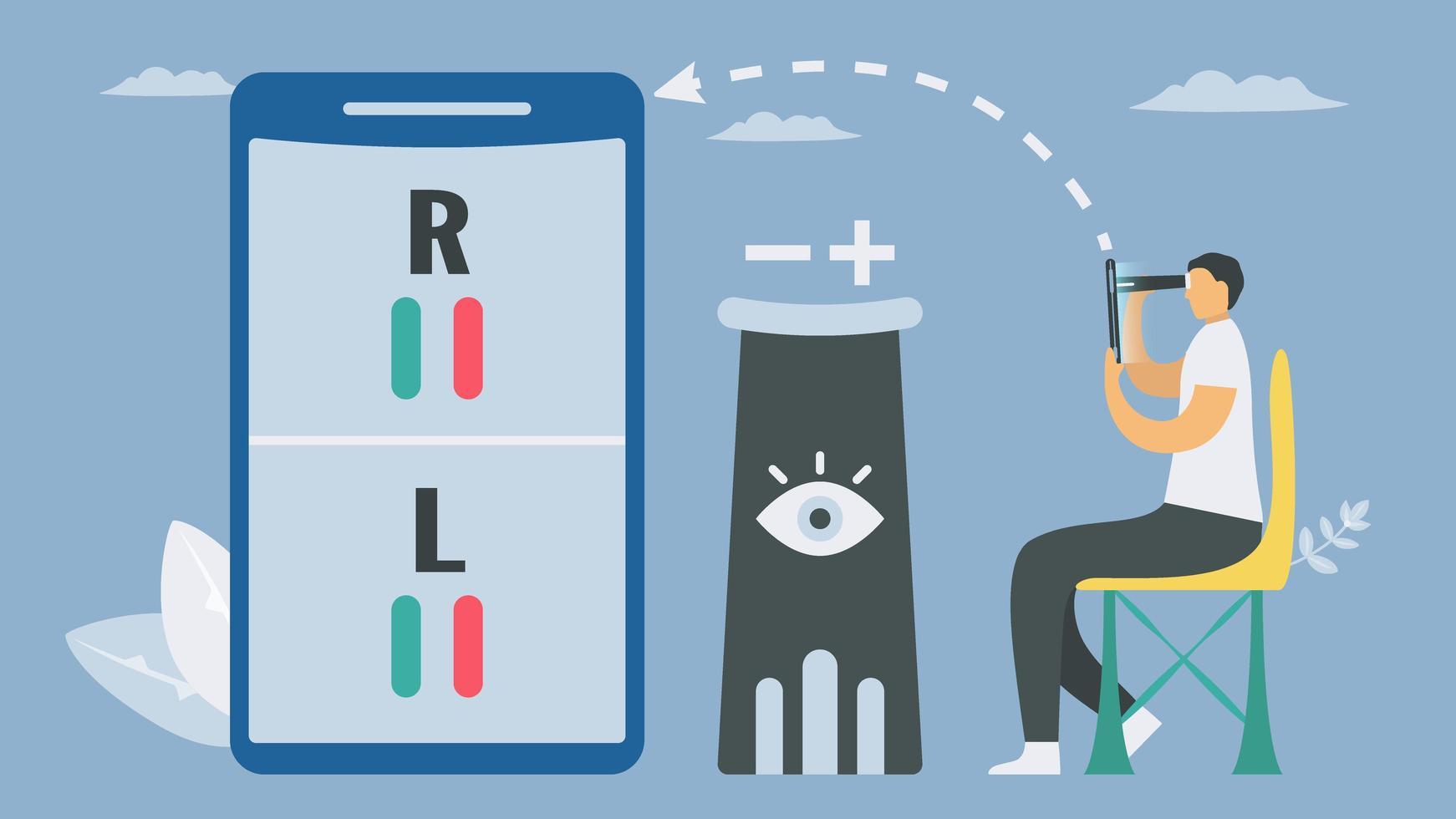 Gesundheitsanwendung Innovation Smartphone Vision Checking vektor