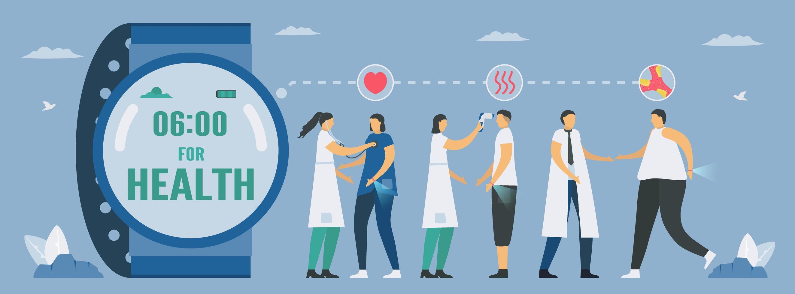 Smartwatch für Gesundheit Zukunftstechnologiedesign vektor