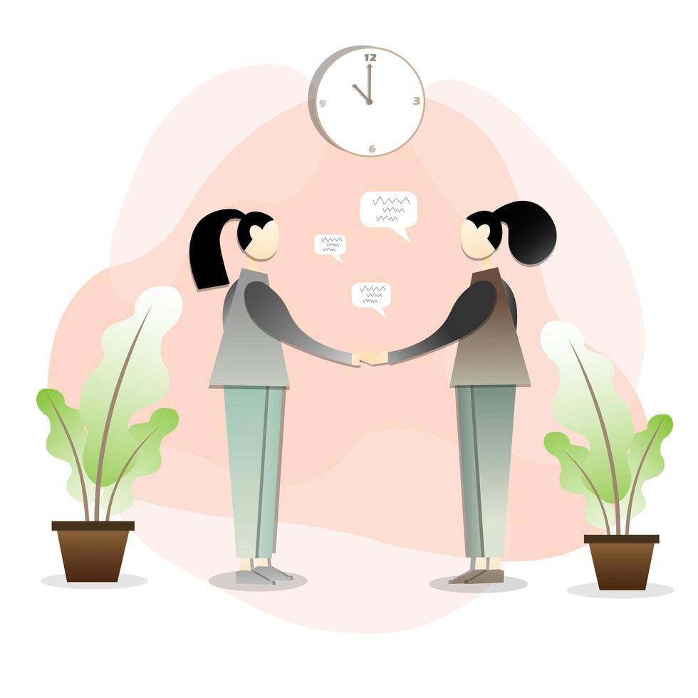 två kvinnor som skakar hand och gör en affär vektor