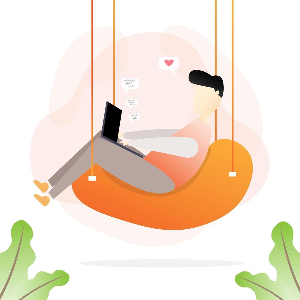 man i hängande stol som arbetar hemifrån vektor