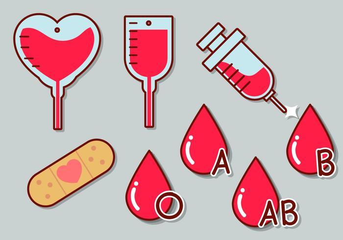 Blodkörnings vektor ikonuppsättning