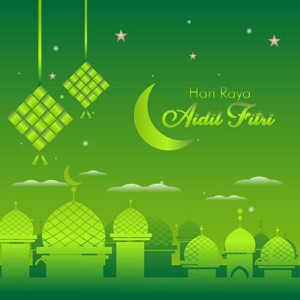 eid al fitr grüner Hintergrund für islamisches Festival vektor