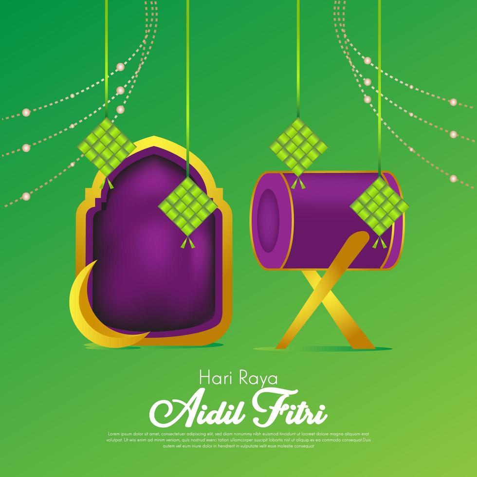 eid al fitr lila grüner Hintergrund für islamisches Festival vektor