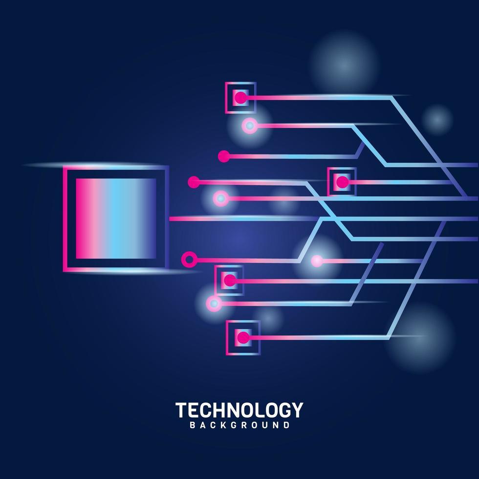 rosa lila digitale Zukunftstechnologie auf blau vektor
