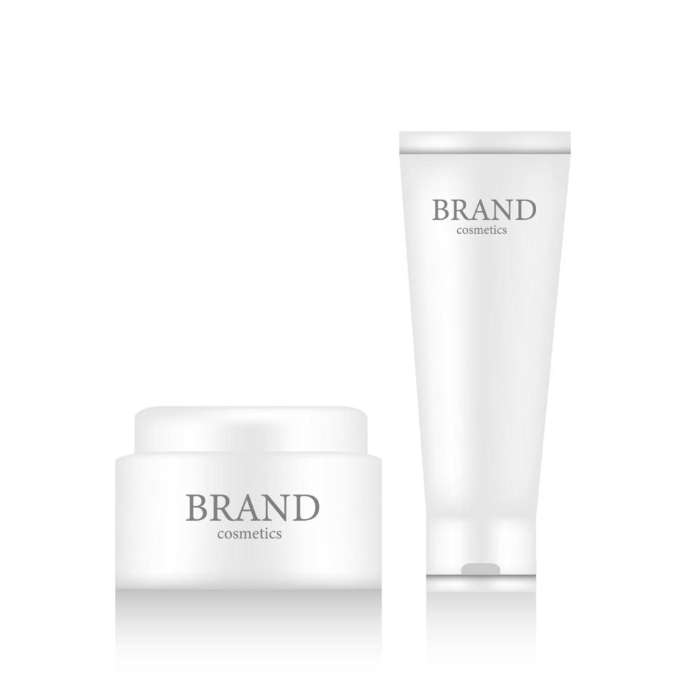 realistische Marke Kosmetik Hautcreme und Tube Behälter vektor