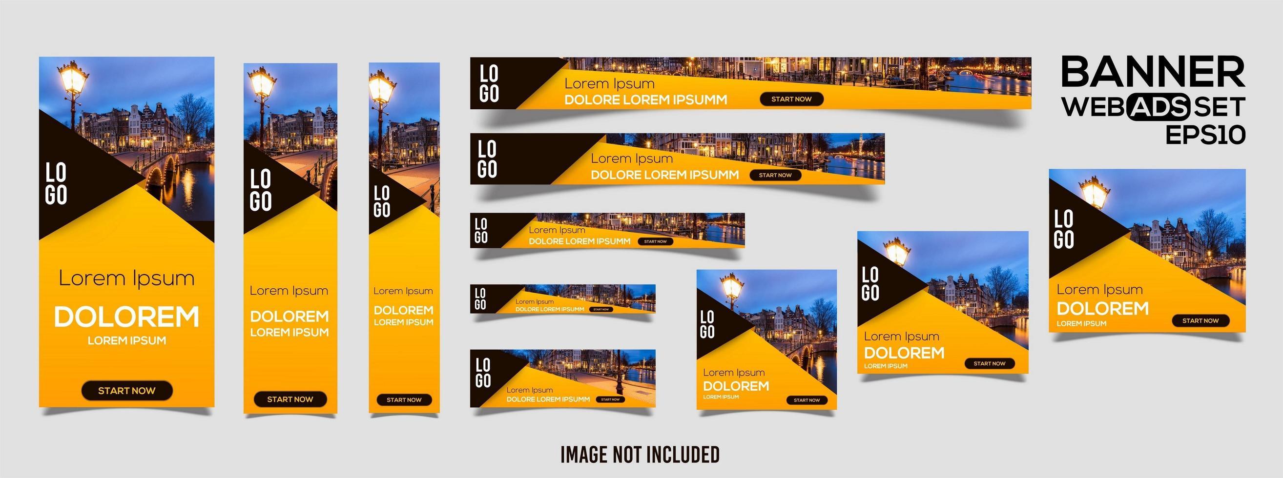Satz gelbe, schwarze Web-Banner-Vorlagen vektor