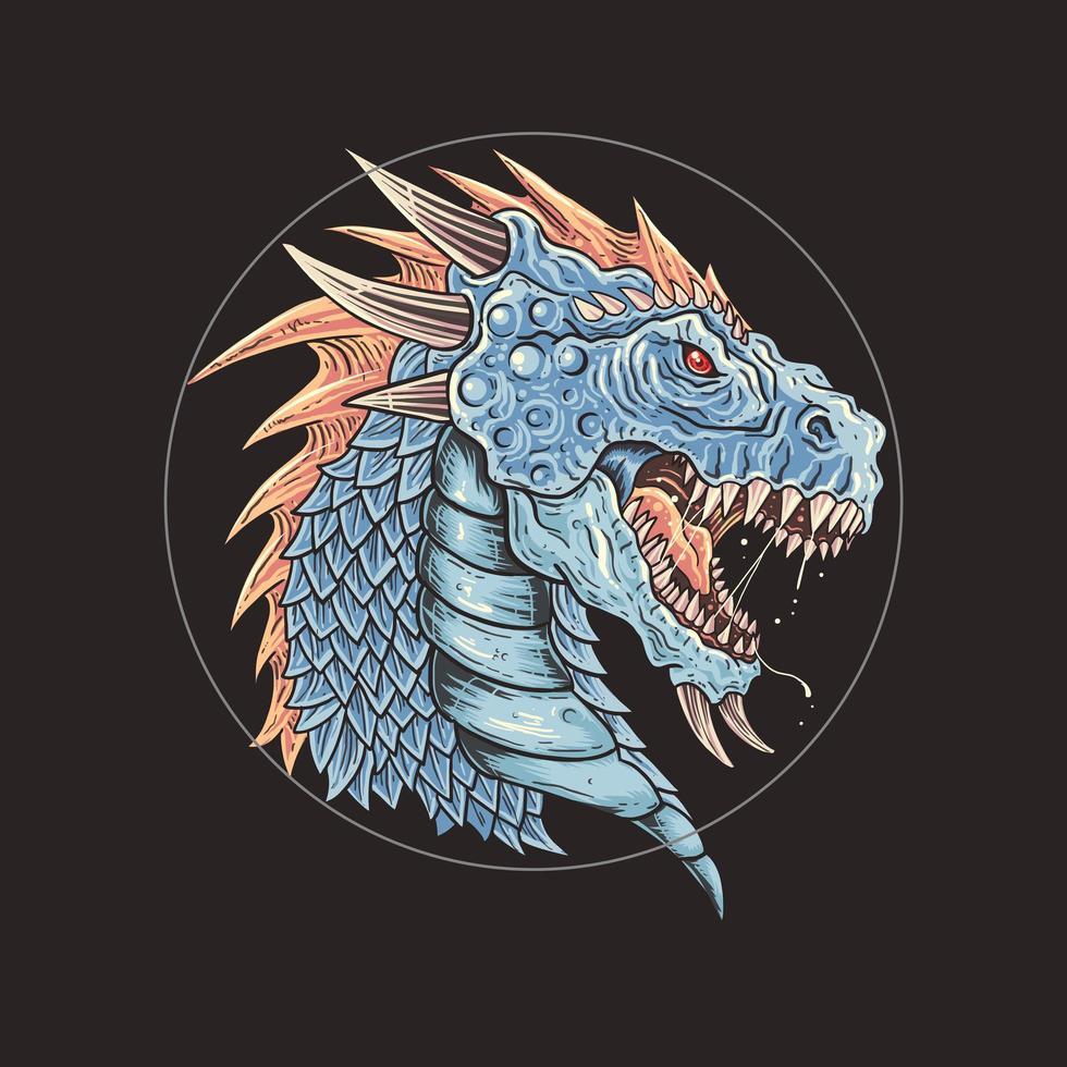 wütender blauer Drachenkopf mit offenem Mund vektor