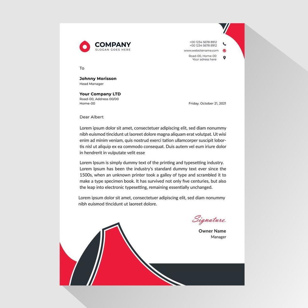Geschäftsbriefkopf mit abstrakten roten und schwarzen Ecken vektor