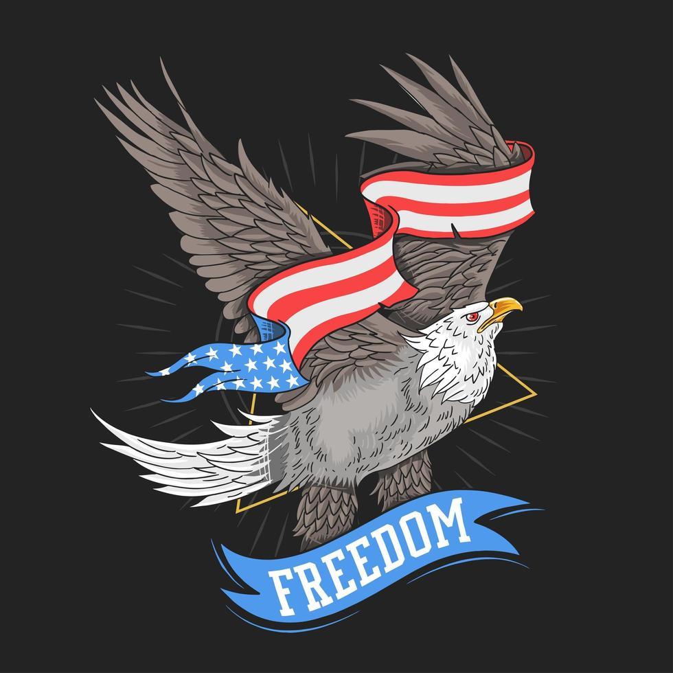 Adler mit USA-Flaggenbanner vektor