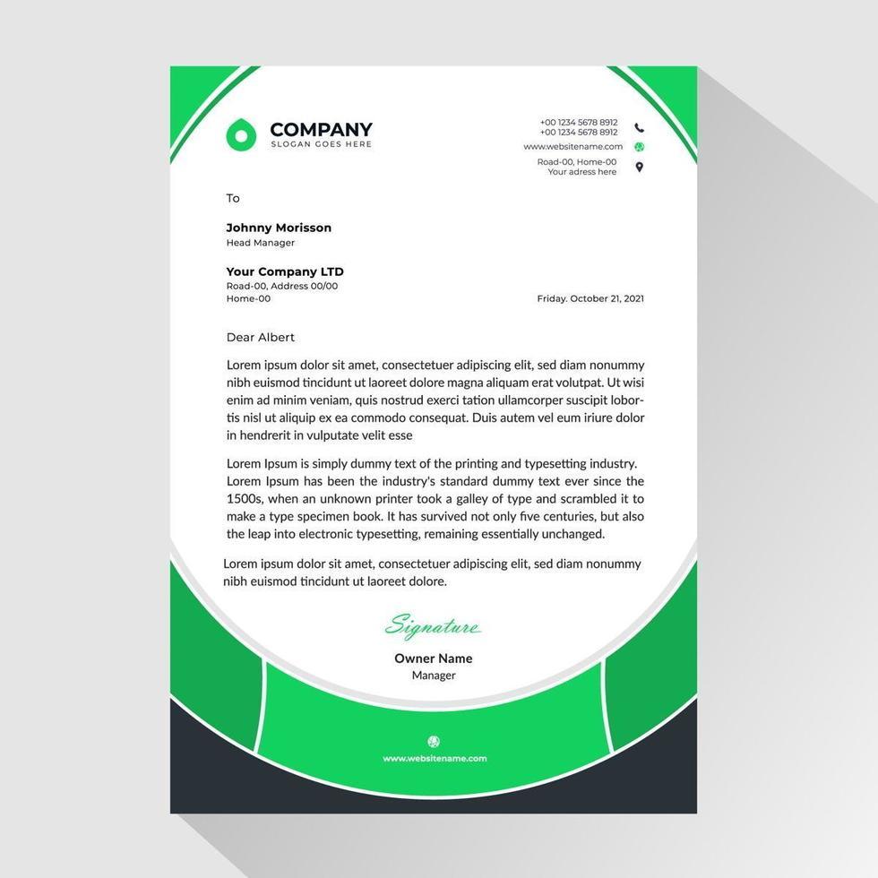 Geschäftsbriefkopf mit grünem abgerundeten Rahmenstil vektor