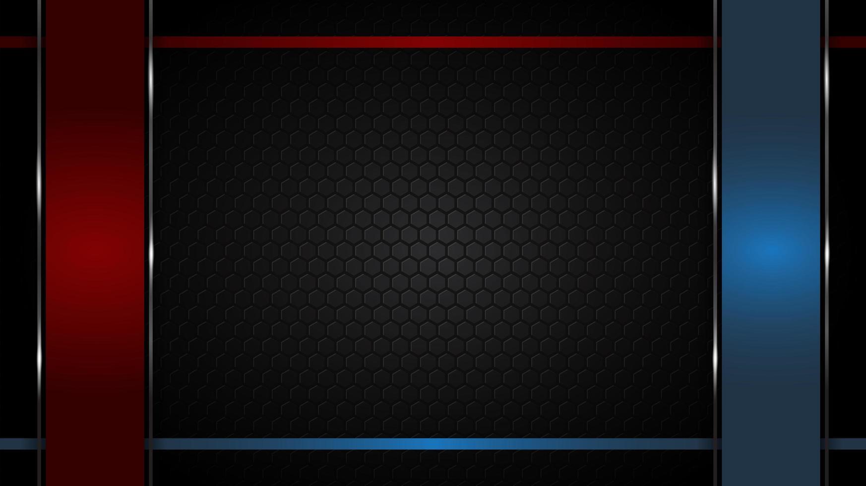 rote und blaue glänzende Ränder auf schwarzem Sechseckmuster vektor
