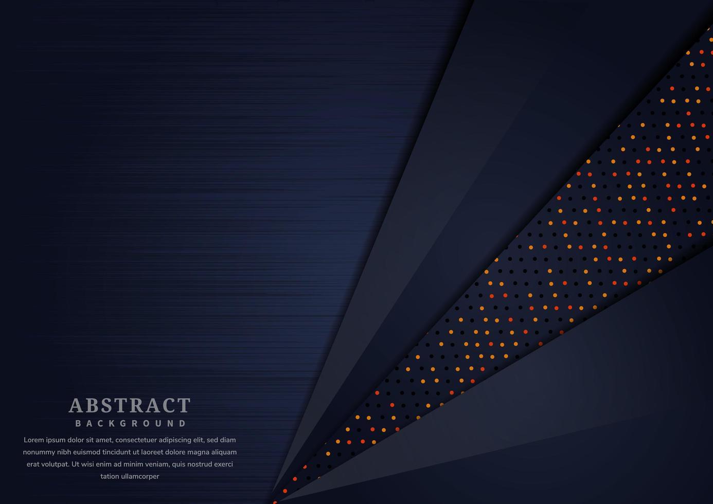 abstrakter dunkelblauer überlappender Schichtenhintergrund mit leuchtenden Punkten vektor