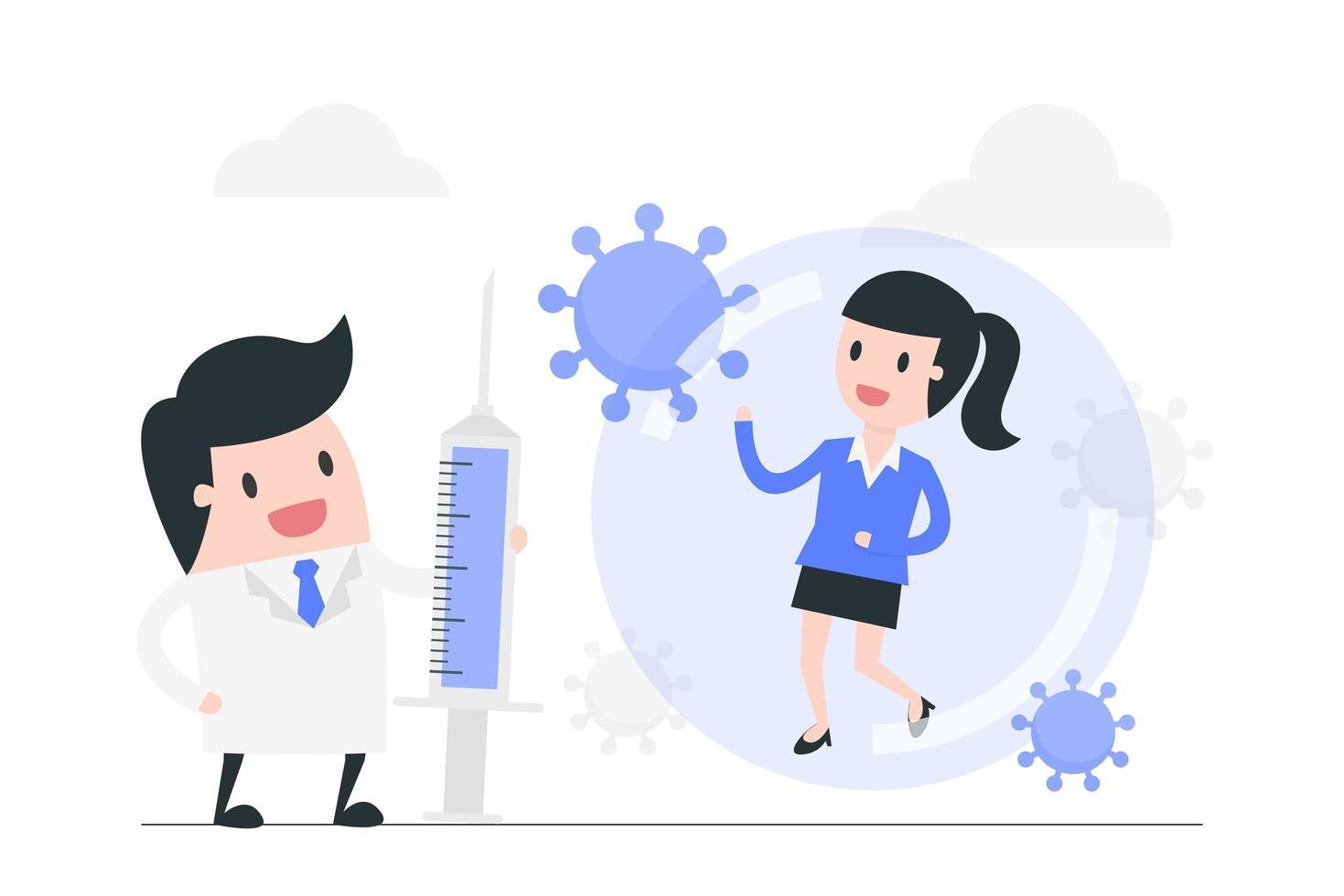 Arzt mit Coronavirus-Impfstoff für Patienten vektor