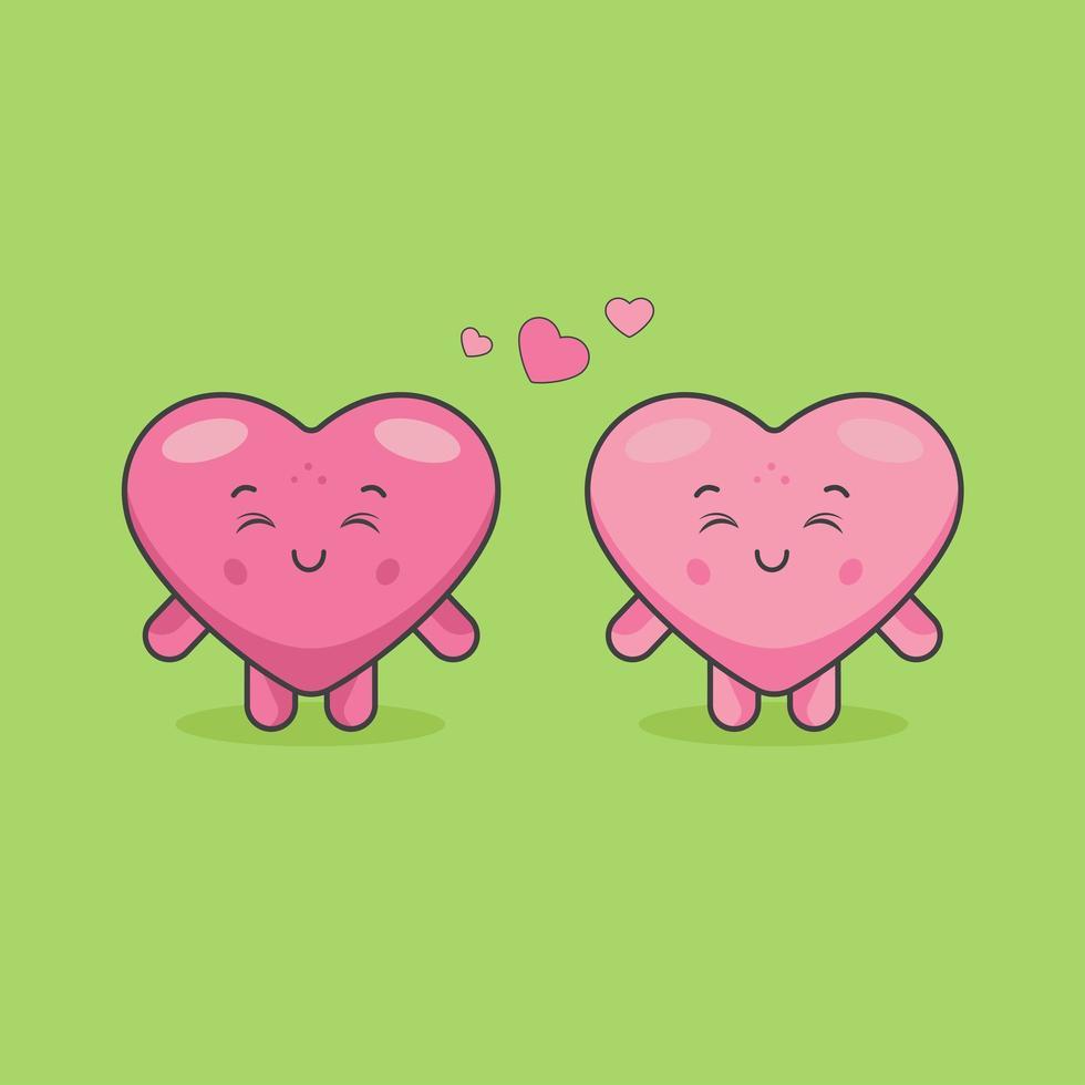 niedliche Herzpaarcharaktere in einer Beziehung vektor