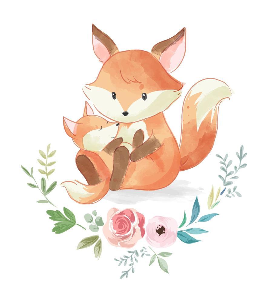 süße Fuchsfamilie mit Blumen vektor