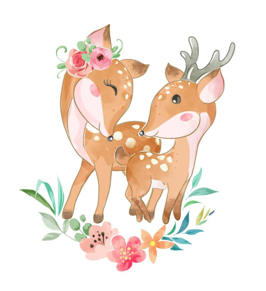 süße Hirschfamilie mit Blumen vektor