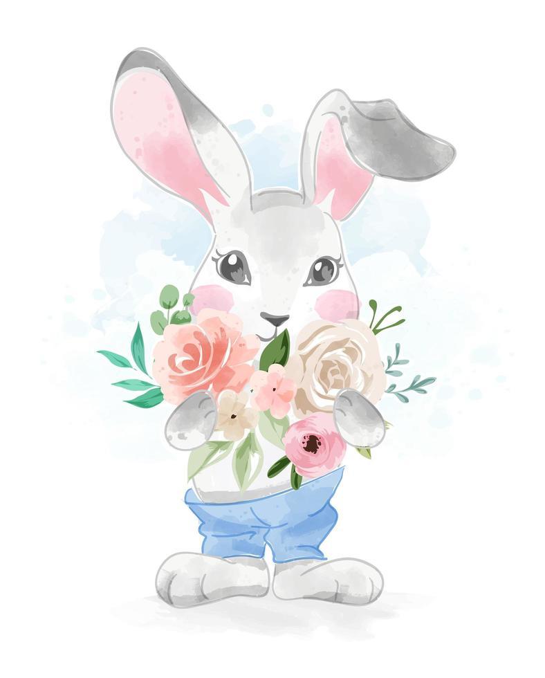 süßes Kaninchen in der Hose mit Blumenstrauß vektor
