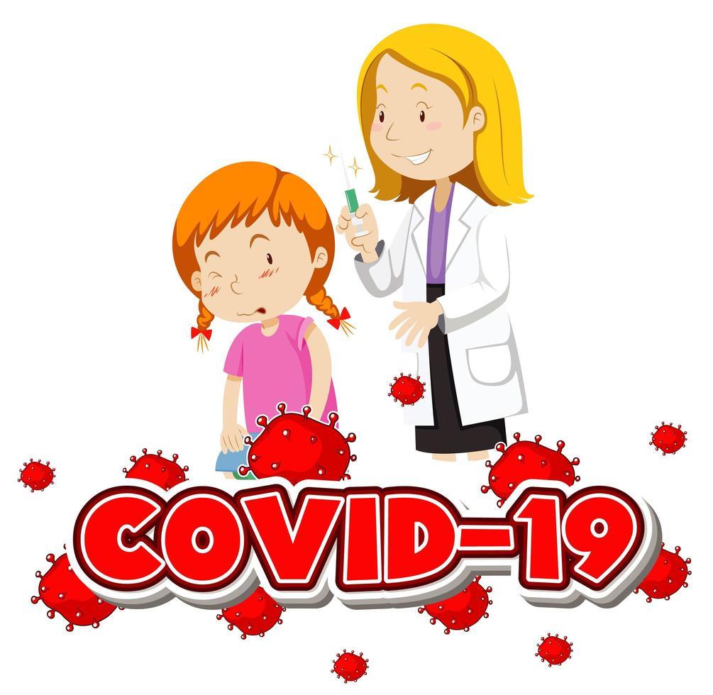 Covid-19-Hintergrund mit Mädchen, das Impfstoff erhält vektor