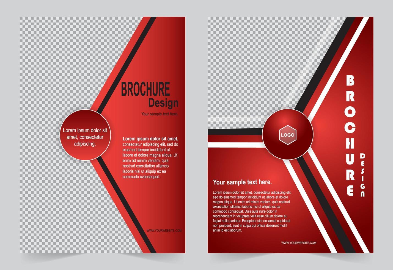rotes Geschäfts- oder Firmenvorlagensatzbroschürenentwurf vektor