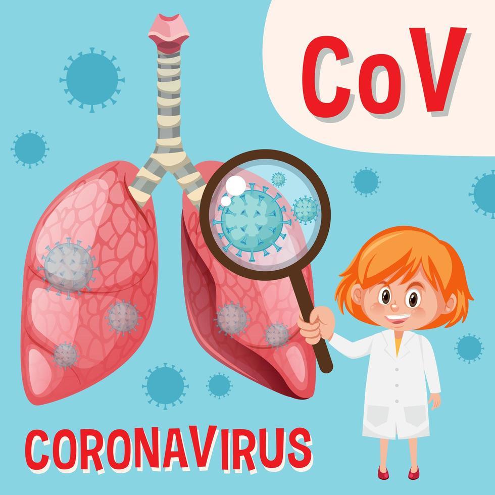 Diagramm zeigt Coronavirus mit Arzt, der Viruszelle betrachtet vektor