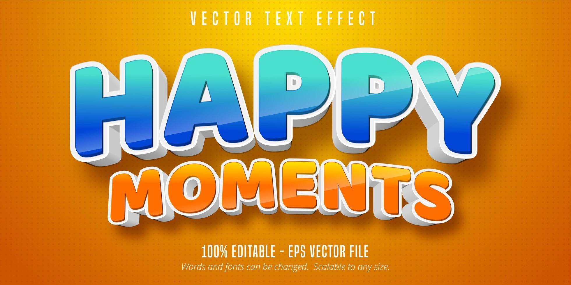 glückliche Momente glänzender blauer und orangefarbener Texteffekt vektor