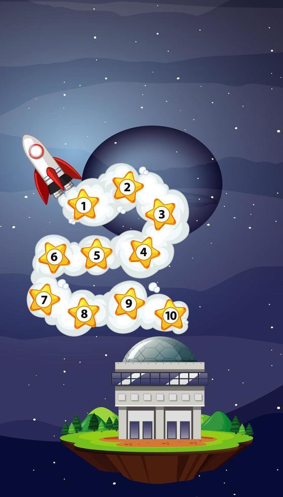 raket flyger i himlen med numrerade stjärnor vektor