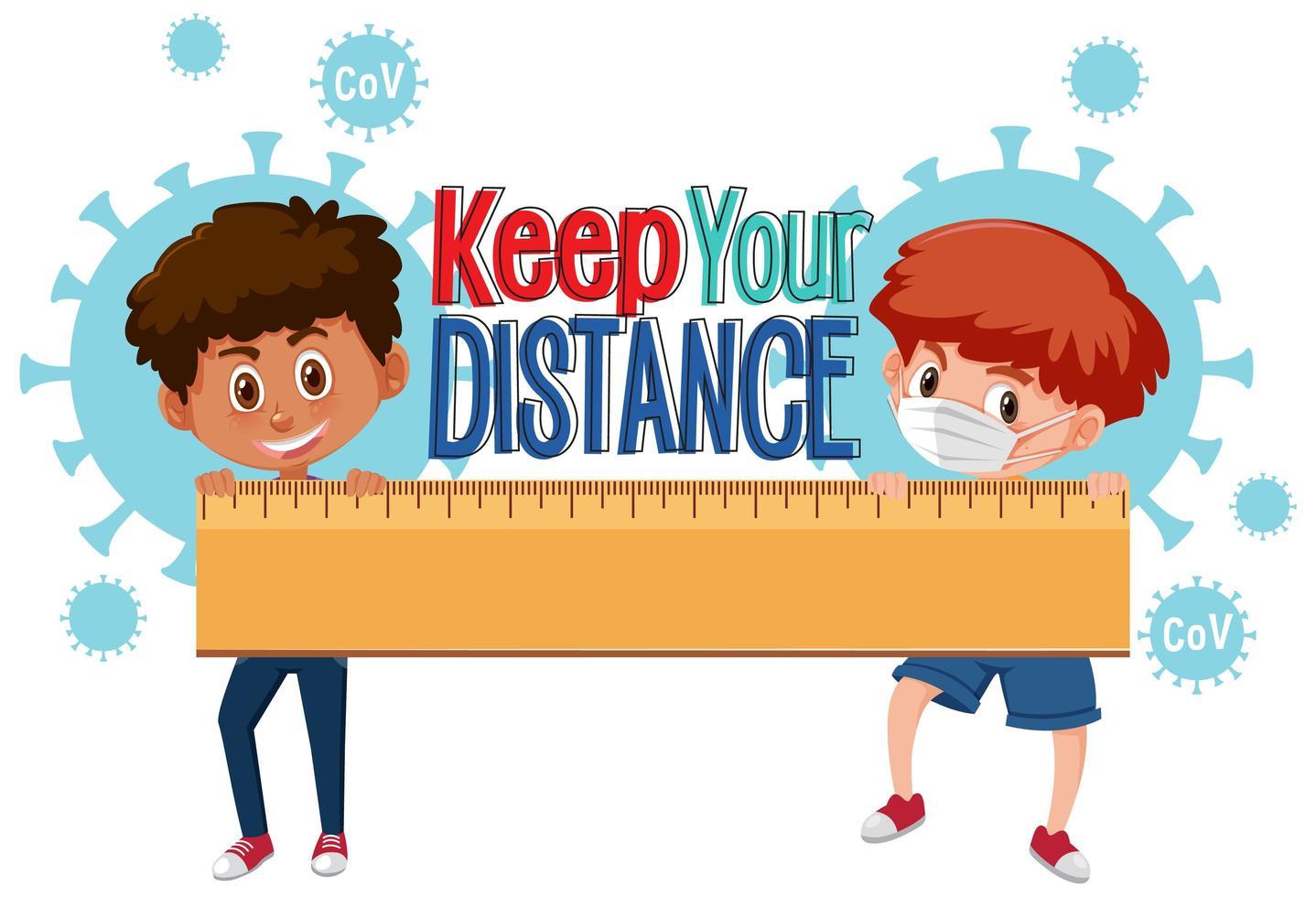 pojkar som håller linjal med '' håll ditt avstånd '' vektor