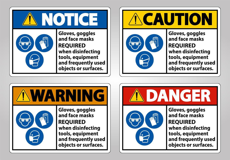 handskar och skyddsglasögon säkerhetsskyltar vektor