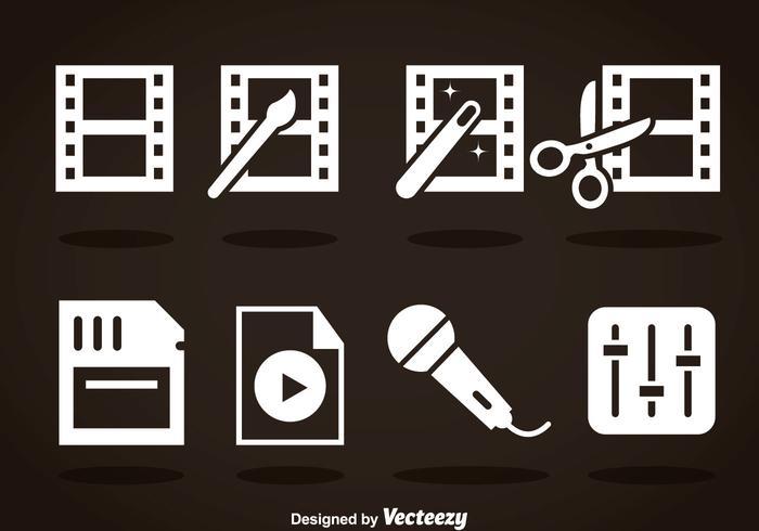 Videobearbeitung White Icons vektor