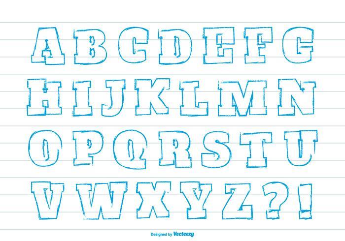 Gullig handdragen stil Alfabet Set vektor
