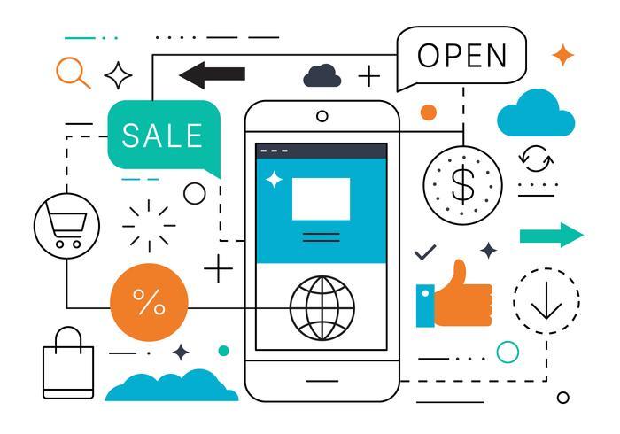 Kostenlose Flat Line Mobile Verkauf Vektor
