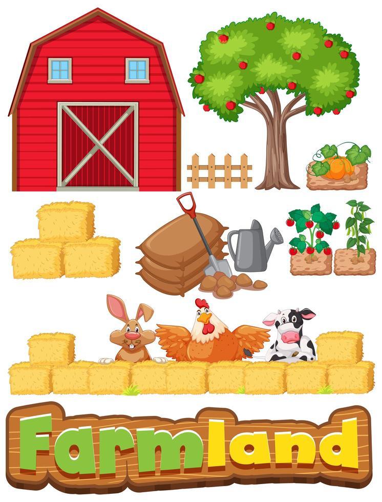 Set von landwirtschaftlichen Gegenständen und vielen Tieren vektor
