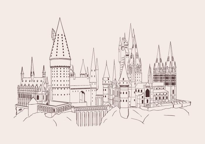 Handdragen Hogwarts Vector